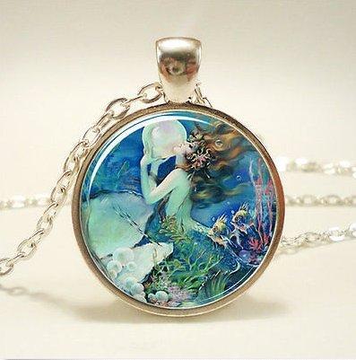 Mermaid Necklace, Fantasy Pendant in Blue