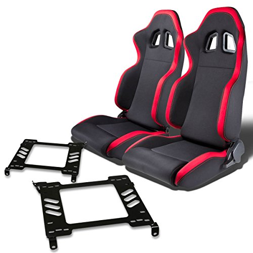 Pair of RSXL01RD Racing Seats+Mounting Bracket for Honda Accord CG