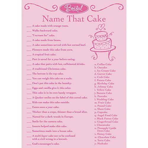 Darice Victoria Lynn Bridal Shower Game Sheets Name That Cake (2 -