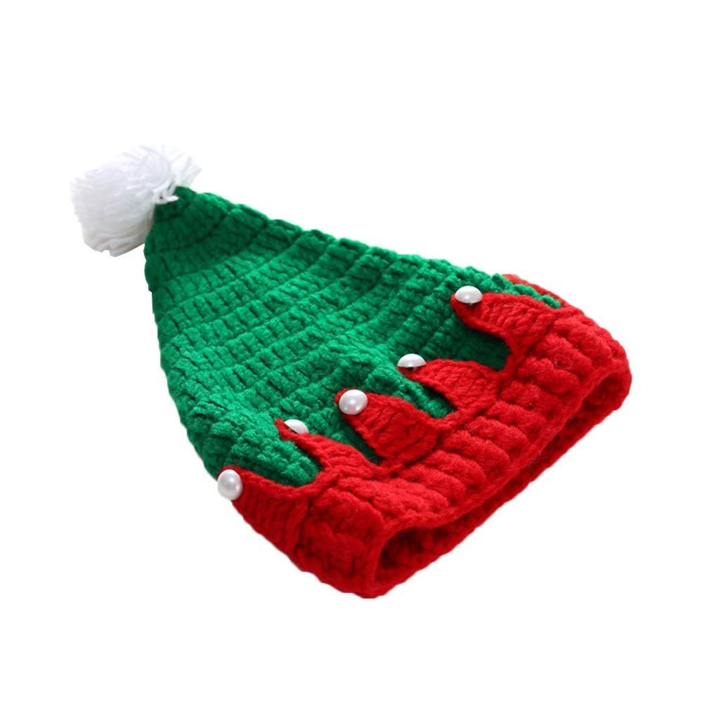 BESTOYARD Gorro navideño de Punto Lana recién Nacida Rojo y Verde Gorro de  Gorro de Navidad Sombrero de Ganchillo Fiesta de Navidad Props Regalos  ... 567fa1acc5d