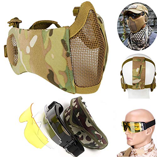 Youmay Tactical Mask Airsoft Goggles, Protective Half Face Mesh Masks Face Masks Ear Protection and Goggles Set for CS/Hunting/Paintball/Shooting