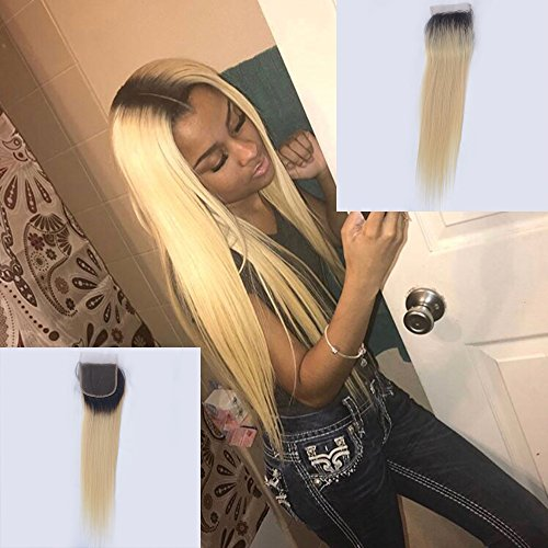 Choshim Hair 4x4 Free Part Ombre 613 Lace Closure with Baby Hair Dark Roots Blonde Human Hair Closure Silky Straight Pre Plucked Hairline(10inches, 1B/613) for sale