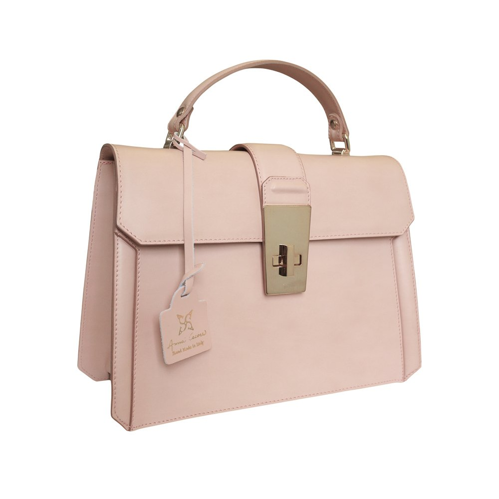 Anna Cecere Italian Leather Carina Grab Handbag Wedding Evening Bag - Pink