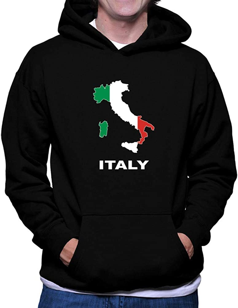 Teeburon Italy Country Map Color Hoodie