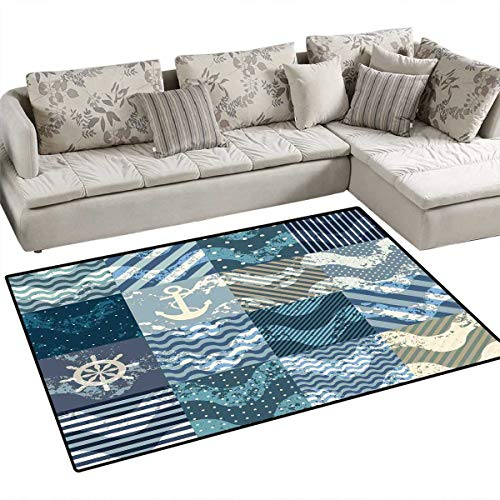 (Nautical Anti-Static Area Rugs Marine Theme Wave Patterns in Patchwork Style Boxes Squares Striped Anchor Print Children Kids Nursery Rugs Floor Carpet 4'x6' Blue Beige)