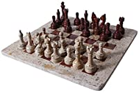 RADICALn Handmade Dark and Light Brown Original Marble Full Chess Game Set