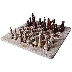 RADICALn Handmade Dark and Light Brown Original Marble Full Chess Game Set