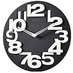 Foxnovo Novelty Hollow-out 3D Big Digits Kitchen Home Office Decor Round Shaped Wall Clock Art Clock (Black)