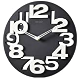 Foxnovo Novelty Hollow-out 3D Big Digits Kitchen Home Office Decor Round Shaped Wall Clock Art Clock (Black) Review