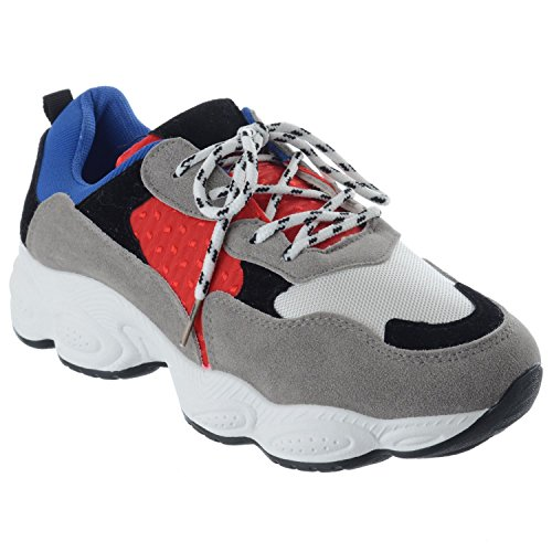 Miss Image UK Womens Ladies Retro Platform Lace up Chunky Trainers Sneakers Pumps Shoes Size Blue / Red ABvQN