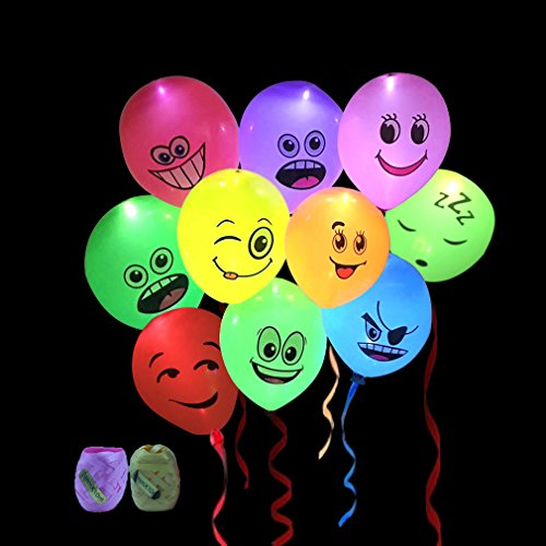 Led Light up Balloons with Mixed Colors Emoji Flashing Light 12-24 Hours for Birthday Party,Wedding,Evening,Prom,Festival Decorations(20pcs Balloons,20M Ribbons) -