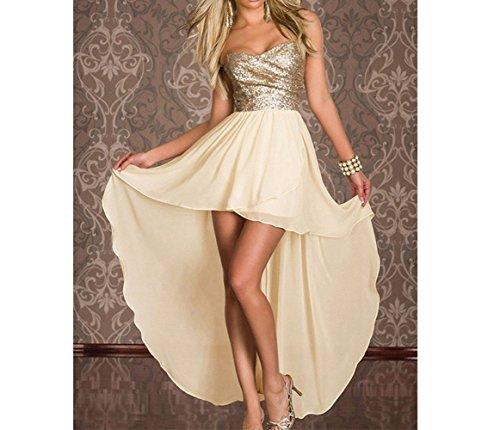 Party Kleid Festliche Chiffon Gold Brautjungfernkleider kleider Hochzeitskleid Gold Strand Sommer Pailletten CoCogirls Formale Abendkleid Schatz Kleider Bqx7wOvS