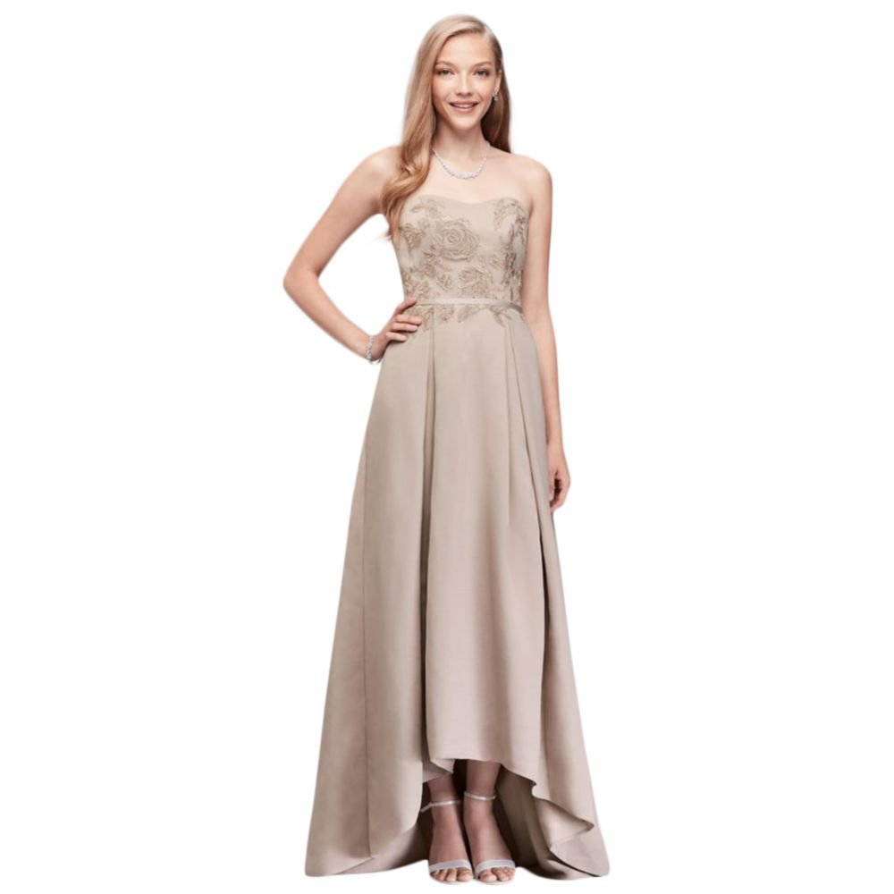 d4ae34bde25 David s Bridal Appliqued Faille High-Low Bridesmaid Dress Style OC290019 at  Amazon Women s Clothing store