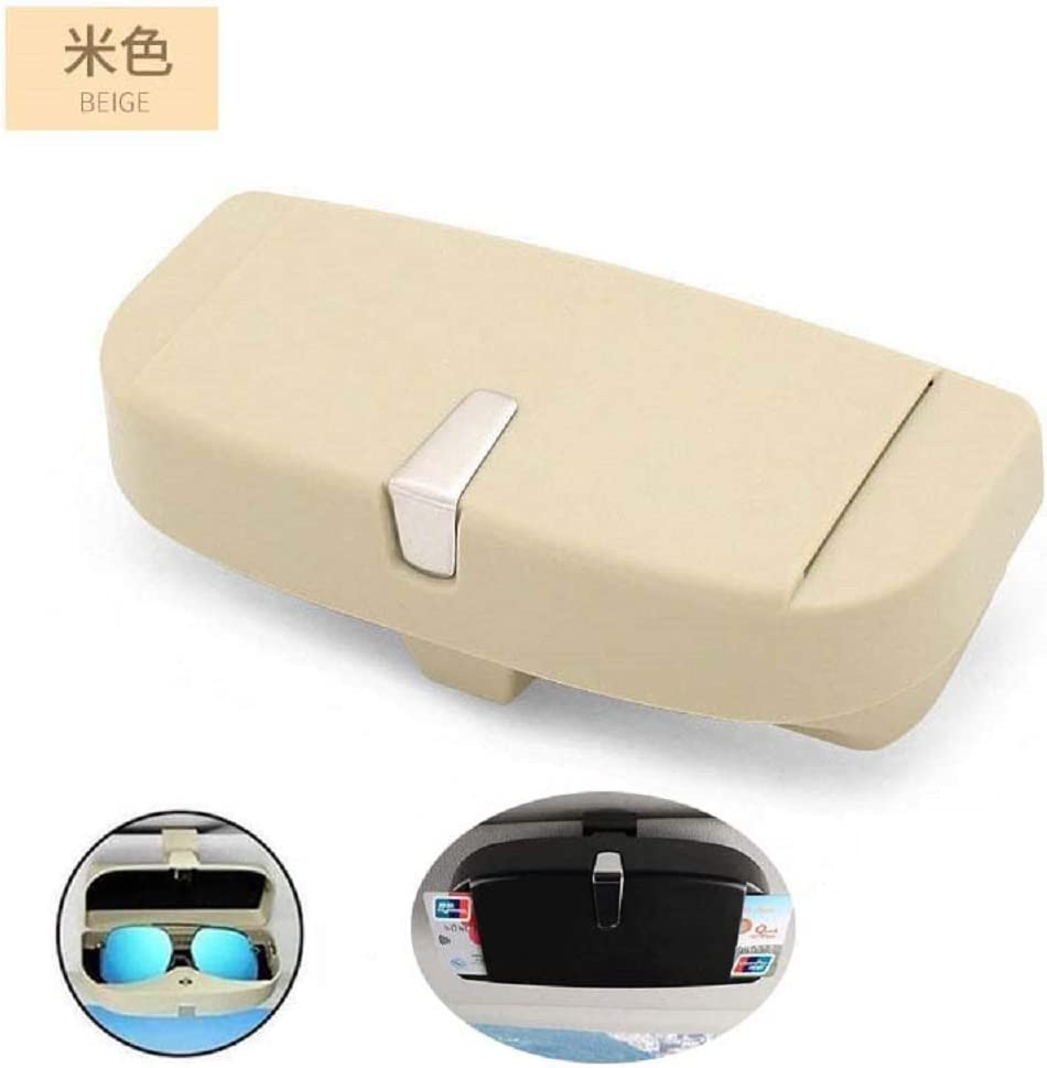 Beige FJLK Universal Car Sunglasses Case Holder Sun Visor Glasses Cage Card Storage Box
