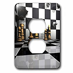 3dRose Sven Herkenrath Hobby Chess - 3D Chess Board Visualization Hobbies Sports Chess - Light Switch Covers - 2 plug outlet cover (lsp_262480_6)