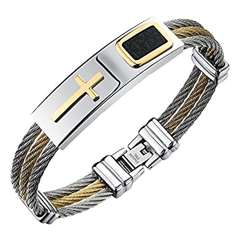 Men's Stainless Steel Cross ID Bracelet Bangle Gold Silver Tone Cable Rope Twist Chain Fashion (Gold Cross Stainless Steel)
