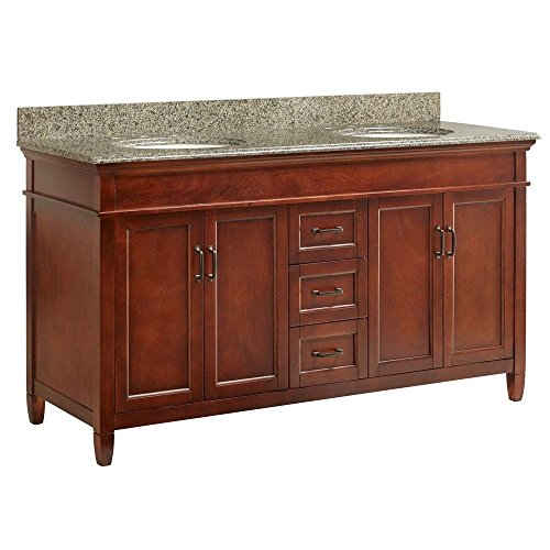 Foremost ASGAQD6122D Ashburn 61-Inch x 22-Inch Vanity with Quadro Granite Top and Double White Bowl