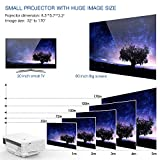 Projector, TENKER RD805 Mini Projector, Portable Home Cinema HD LED Video Movie Projector Support 1080P USB VGA HDMI AV, Compatible with Amazon Fire Stick TV Smartphones iPhone iPad, White