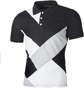 Wofupowga Men Casual Top Tee Lapel Short Sleeve Polos Shirts T-Shirts