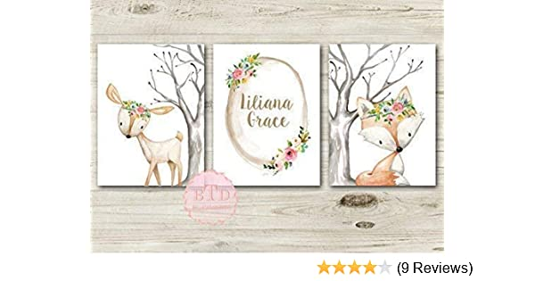 Woodland Fox Woodland Deer Baby Birth Stats Woodland Nursery Wall Art Print  Baby Girl Room Decor Woodland Nursery art Baby Girl Nursery Decor
