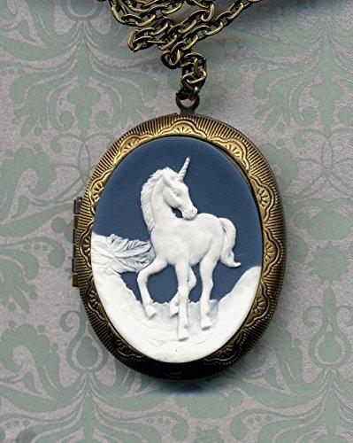 (Unicorn Locket Necklace, Cameo Magic Horse Long Necklace, Big statement Locket Necklace, Nature Inspired Pill Box vintage style locket Necklace)