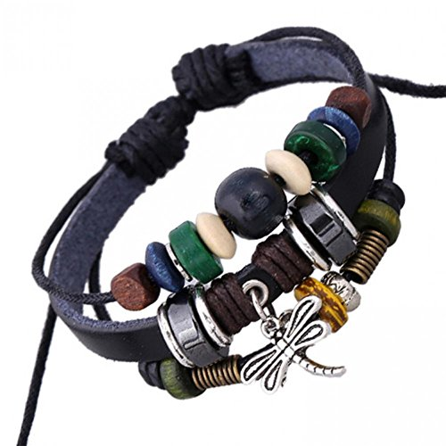 [BMALL Leather Vintage Colorful Beads Leather Bracelet Dragonfly Charms Bracelet For Women Lb1326] (Elephant Ears And Nose Costume)
