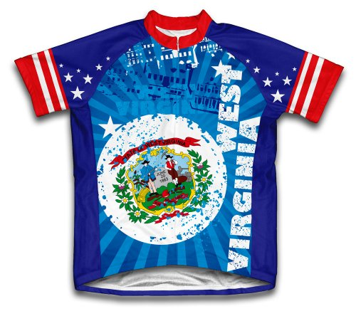 - ScudoPro West Virginia Short Sleeve Cycling Jersey for Men - Size 4XL Blue
