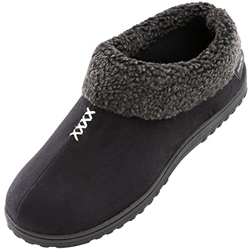 Men's Cozy Memory Foam Slippers Fluffy Micro Suede Faux Fur Fleece Lined House Shoes with Non Skid Indoor Outdoor Sole (11 D(M) US, Black) by HomeTop