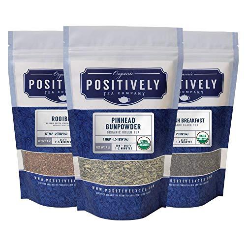 4 Ounce Sampler - Positively Tea Company, Organic Tea Variety Sampler, Loose Leaf, USDA Organic, 4 Ounce Bags, 3 Pack