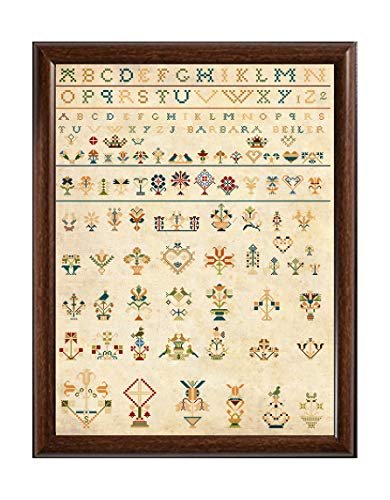 - Antique Amish 19th Century German Sampler Reproduction Cross Stitch Counted Chart PDF on CD Unique Easy to Make Vintage American Germany