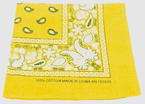 Bandanas by the Dozen (12 units per pack, 100% cotton) (Dozen-Yellow Paisley) (Yellow Bandana Paisley)