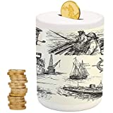 iPrint Nautical Decor,Money Bank for Kids,for Party Decor Girls Kid's Children Adults Birthday Gifts,Fisherman Captain Seaman Sailboat Old Historic Sketch Monochromic Artwork