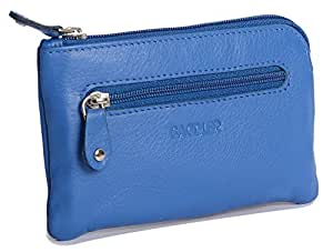 SADDLER Womens Luxurious Leather Zip Top Coin Purse   Ladies Money Pouch - Perfect Size for Multiple Credit Cards Coins Notes Double Keychain   Gift Boxed - Blue
