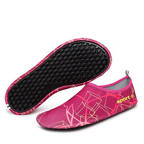 MAYZERO Unisex Strandschuhe Aquaschuhe Breathable Schlüpfen Schnell Trocknend Schwimmschuhe Surfschuhe für Damen & Herren, Erwachsene & Kinder Rose-7