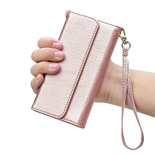 : iPhone 8 Plus Wallet Case, iPhone 7 Plus Wallet Case, ZVE Shockproof Wallet Card Holder Case with Credit Card Slots Detachable Cover Wrist Strap Handbag for iPhone 7 Plus and iPhone 8 Plus Rose Gold