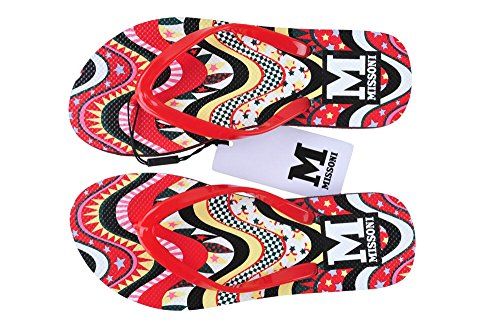 36 Damen Schuhe Flipflop Synthetik M Schwarz Rot Missoni qB6W1f