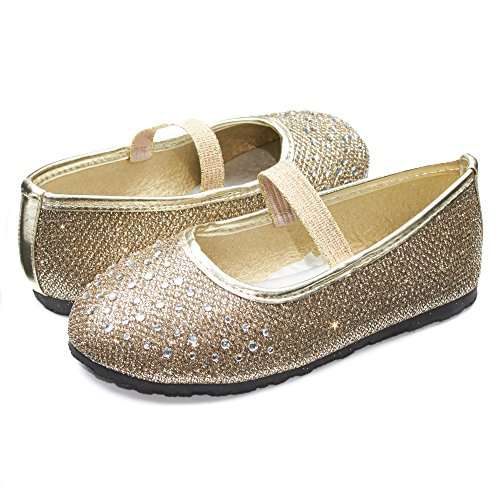 Sara Z Kids Toddlers Girls Glitter Mesh Ballet Flat Slip On Shoes With Rhinestones and Elastic Strap Gold Size 11/12 -