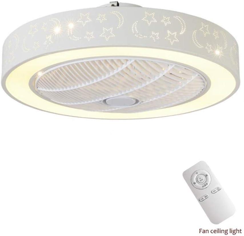XYJGWXDD Grupos de iluminación Invisible Ventilador de Techo Aspas LED Ventilador de Techo Lámpara de Cristal con Control Remoto Tiene Tres Colores de Cambio