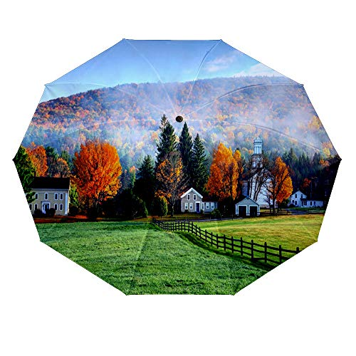 10 ribs multi-function automatic on/off - sun protection - rainproof - windproof umbrella, theme - Autumn mist in the village of Tyringham in the Berkshires