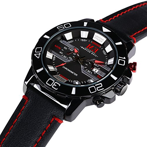 M.E Men's Classic Sport Analog Watch Leather Strap Quartz 30M Water Resistant Auto Calendar Black Wrist Watches - Shade Leather Roman