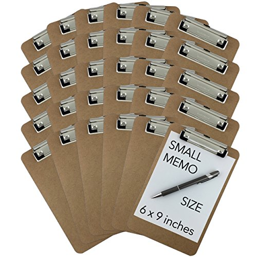 Trade Quest Memo Size 6'' x 9'' Clipboards Low Profile Clip Hardboard (Pack of 30) (Pen Not Included - For Scale Only) -