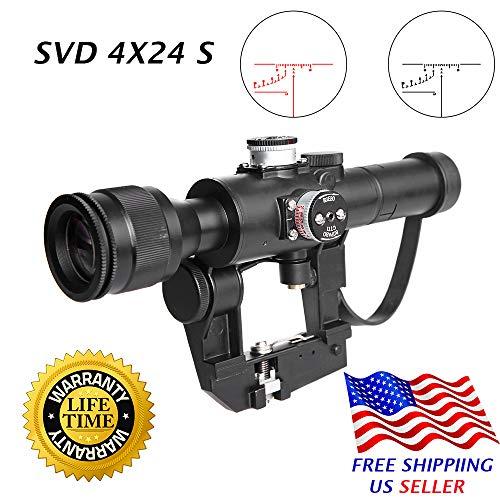 Sniper SVD Dragunov 4x24S Hunting Rifle Scope Illuminated Rangefinding Reticle