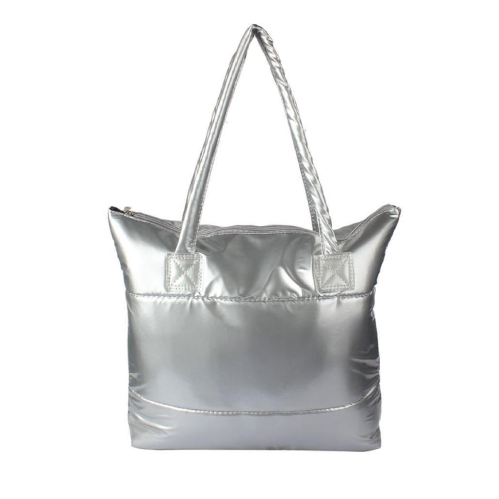 Perman Womens Girls Space Bale Cotton Totes Zip Handbag Feather Down Waterproof Shoulder Bag (Silver)