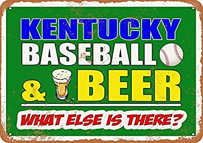Sylty 12 x 16 Metal Sign - Kentucky Baseball and Beer Funny Metal Sign
