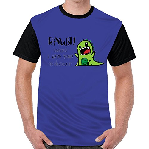 FunnyKing I Love You In Dinosaur Mens Printed O-Neck t Shirts Graphic T-Shirt Blue
