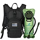 Tactical MOLLE Hydration Pack Backpack 900D with 2L Leak-Proof Water Bladder, Keep Liquids Cool for Up to 4 Hours, Outdoor Daypack for Cycling, Hiking, Running, Climbing, Hunting, USA Flag Patch,Black