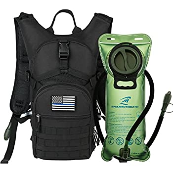 SHARKMOUTH Tactical MOLLE Hydration Pack Backpack 900D with 2L Leak-Proof Water Bladder, Keep Liquids Cool for Up to 4 Hours, Outdoor Daypack for Cycling, ...