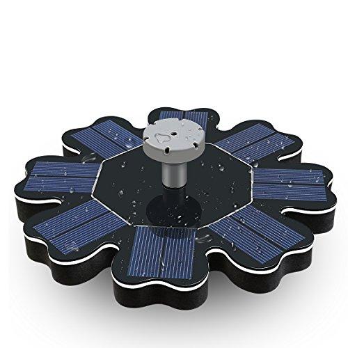 (Tranmix Solar Fountain Pump, Solar Powered Bird Bath Fountain 1.6W Outdoor Floating Water Pump Kit with 8)
