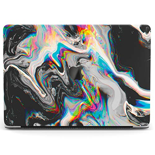 Wonder Wild Case For MacBook Air 13 inch Pro 15 2019 2018 Retina 12 11 Apple Hard Mac Protective Cover Touch Bar 2017 2016 2015 Plastic Laptop Print Glitch Art Abstract Black Holographic Paint Rainbow]()