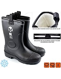 Mens Insulated Waterproof Fur Interior Rubber Sole Winter Snow Cold Weather Rain Boots